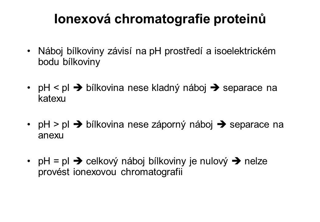 Ionexová chromatografie proteinů Náboj bílkoviny závisí na pH prostředí a isoelektrickém bodu bílkoviny pH < pI  bílkovina nese kladný náboj  separa