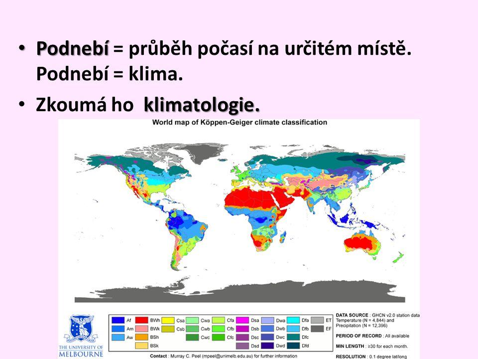 Podnebí Podnebí = průběh počasí na určitém místě. Podnebí = klima. klimatologie. Zkoumá ho klimatologie.