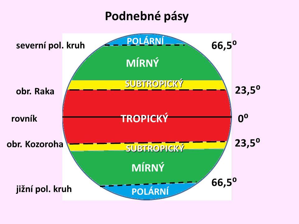 0⁰ 23,5⁰ 66,5⁰ rovník obr. Raka obr. Kozoroha severní pol. kruh jižní pol. kruh Podnebné pásy TROPICKÝ SUBTROPICKÝ SUBTROPICKÝ MÍRNÝ POLÁRNÍ