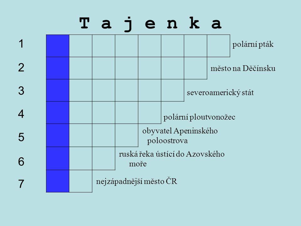 obyvatel Apeninského poloostrova ruská řeka ústící do Azovského moře nejzápadnější město ČR T a j e n k a 12345671234567 polární pták město na Děčínsk