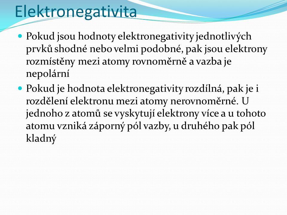 Elektronegativita Pokud jsou hodnoty elektronegativity jednotlivých prvků shodné nebo velmi podobné, pak jsou elektrony rozmístěny mezi atomy rovnoměrně a vazba je nepolární Pokud je hodnota elektronegativity rozdílná, pak je i rozdělení elektronu mezi atomy nerovnoměrné.