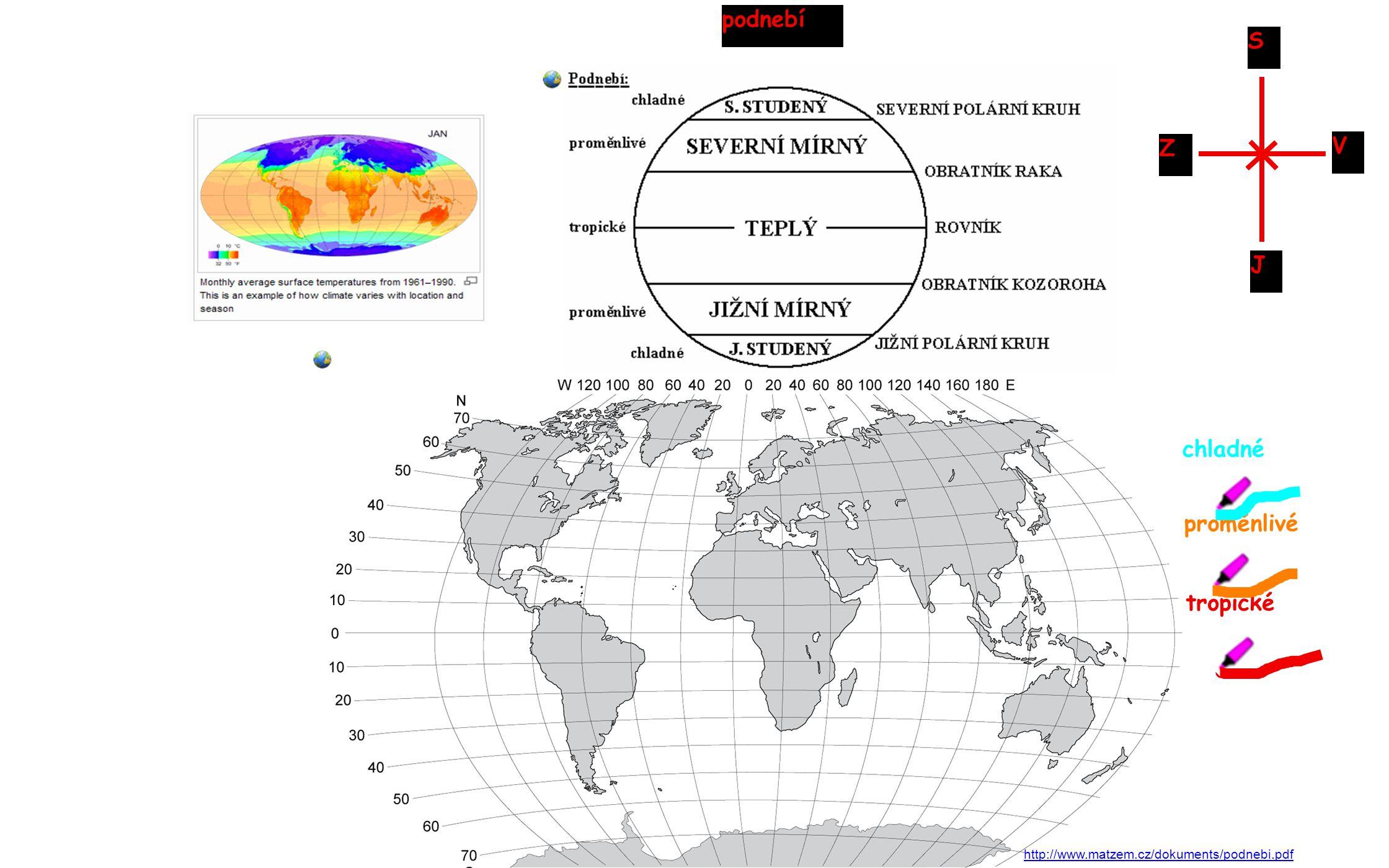 rovník obratník raka obratník kozoroha tropický pás mírný pás subtropický pás severní polární kruh jižní polární kruh subtropický pás mírný pás