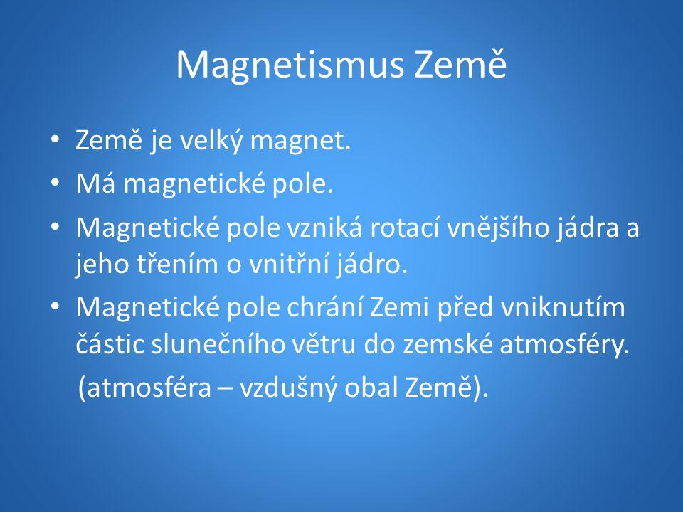 Magnetismus Země Země je velký magnet. Má magnetické pole. Magnetické pole vzniká rotací vnějšího jádra a jeho třením o vnitřní jádro. Magnetické pole