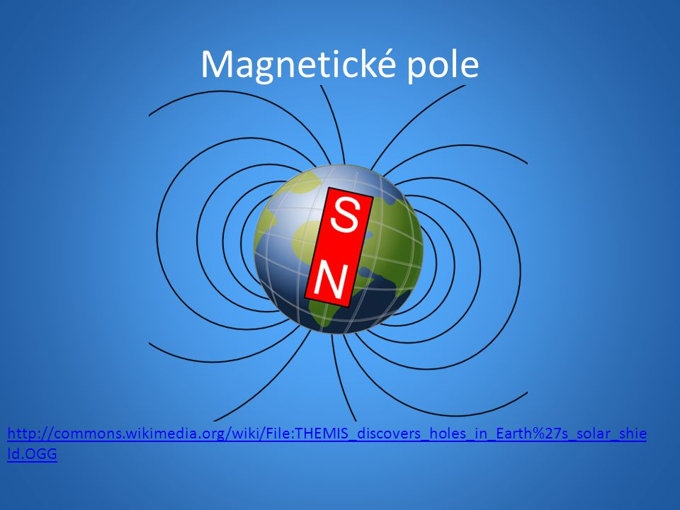 Magnetické pole http://commons.wikimedia.org/wiki/File:THEMIS_discovers_holes_in_Earth%27s_solar_shie ld.OGG
