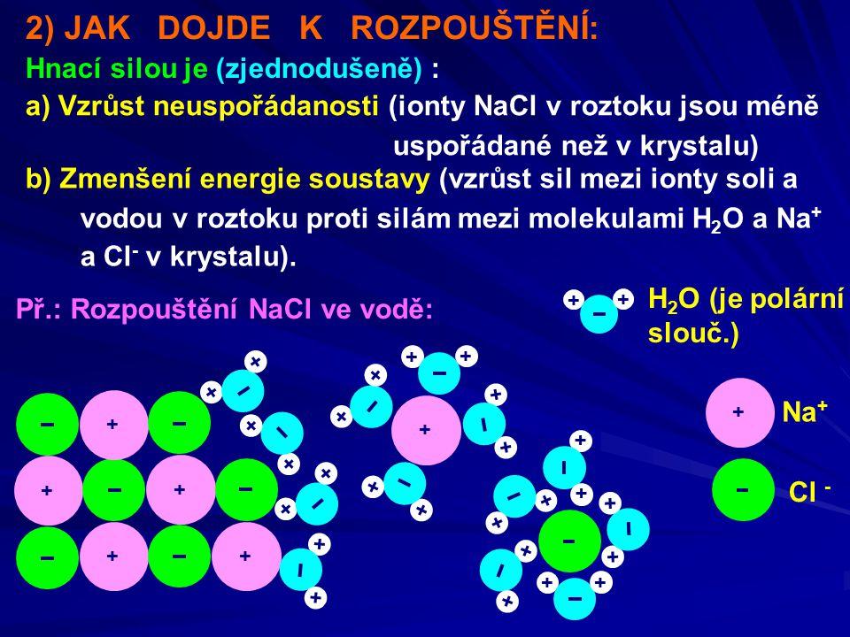 2) JAK DOJDE K ROZPOUŠTĚNÍ: Hnací silou je (zjednodušeně) : a) Vzrůst neuspořádanosti (ionty NaCl v roztoku jsou méně uspořádané než v krystalu) b) Zmenšení energie soustavy (vzrůst sil mezi ionty soli a vodou v roztoku proti silám mezi molekulami H 2 O a Na + a Cl - v krystalu).
