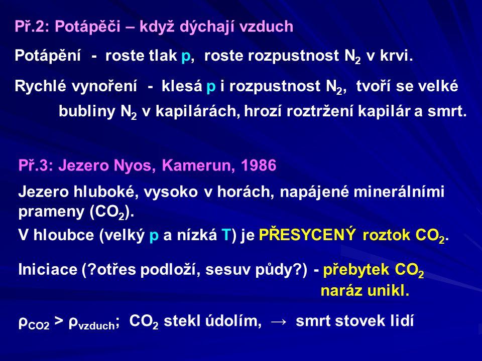 Př.2: Potápěči – když dýchají vzduch Potápění - roste tlak p, roste rozpustnost N 2 v krvi. Rychlé vynoření - klesá p i rozpustnost N 2, tvoří se velk
