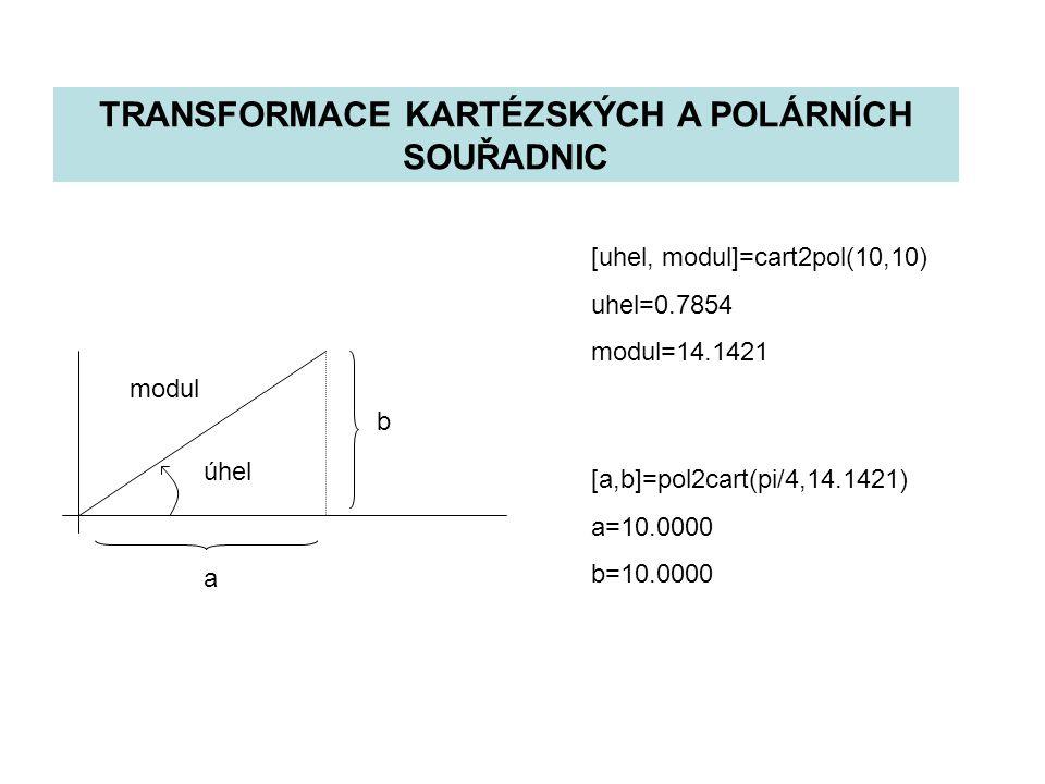 TRANSFORMACE KARTÉZSKÝCH A POLÁRNÍCH SOUŘADNIC b a modul úhel [uhel, modul]=cart2pol(10,10) uhel=0.7854 modul=14.1421 [a,b]=pol2cart(pi/4,14.1421) a=10.0000 b=10.0000