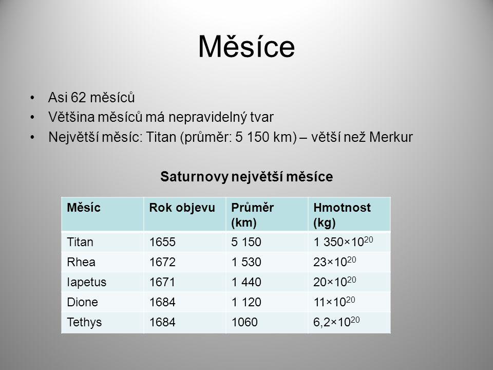 Měsíce Asi 62 měsíců Většina měsíců má nepravidelný tvar Největší měsíc: Titan (průměr: 5 150 km) – větší než Merkur Saturnovy největší měsíce MěsícRo