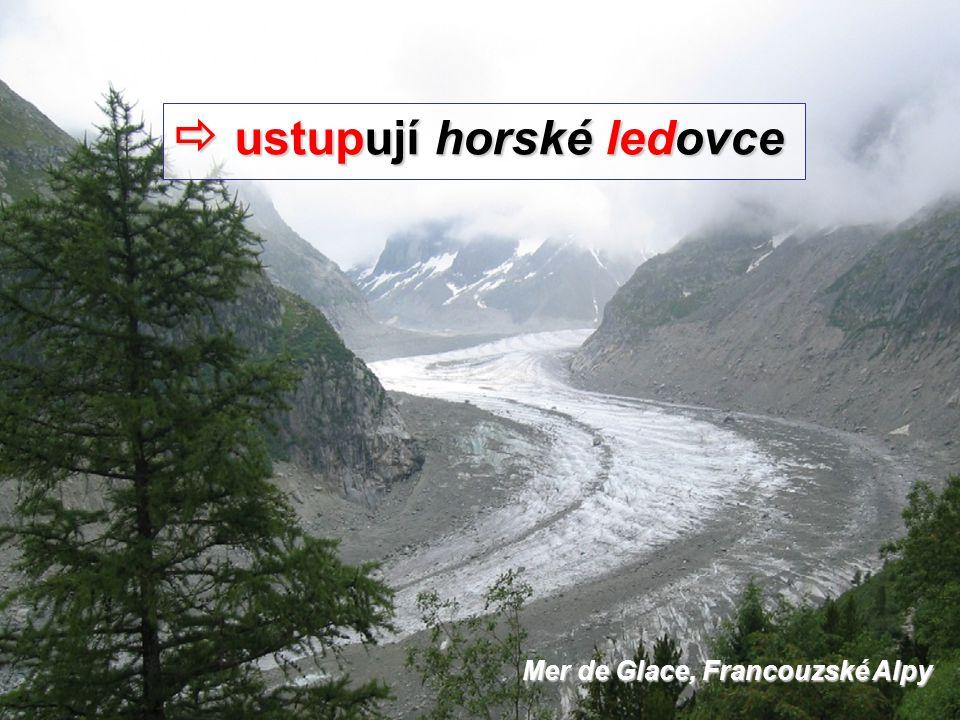  ustupují horské ledovce Mer de Glace, Francouzské Alpy
