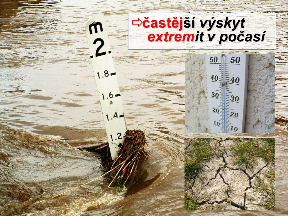  častější výskyt extremit v počasí