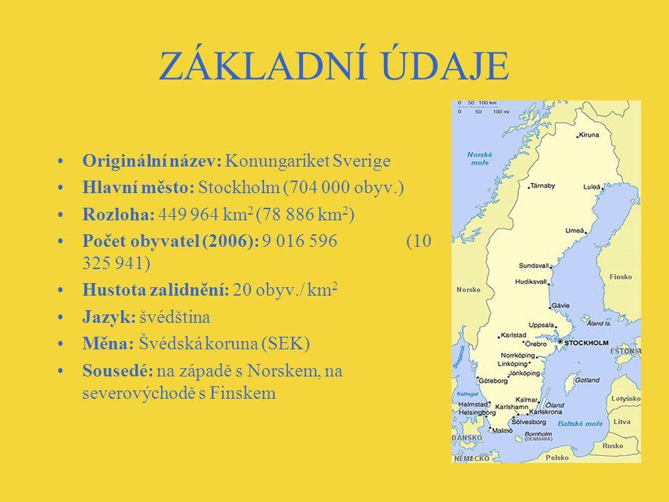 ZÁKLADNÍ ÚDAJE Originální název: Konungariket Sverige Hlavní město: Stockholm (704 000 obyv.) Rozloha: 449 964 km 2 (78 886 km 2 ) Počet obyvatel (2006): 9 016 596 (10 325 941) Hustota zalidnění: 20 obyv./ km 2 Jazyk: švédština Měna: Švédská koruna (SEK) Sousedé: na západě s Norskem, na severovýchodě s Finskem