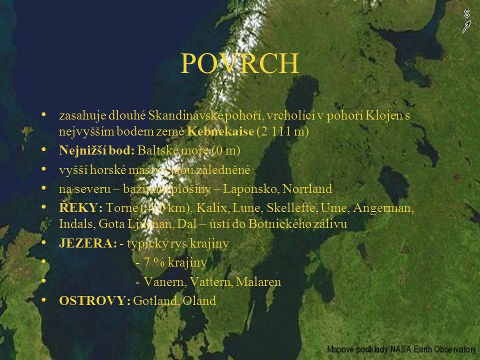 POVRCH zasahuje dlouhé Skandinávské pohoří, vrcholící v pohoří Klojen s nejvyšším bodem země Kebnekaise (2 111 m) Nejnižší bod: Baltské moře (0 m) vyšší horské masivy jsou zaledněné na severu – bažinaté plošiny – Laponsko, Norrland ŘEKY: Torne (410 km), Kalix, Lune, Skellefte, Ume, Angerman, Indals, Gota Ljusnan, Dal – ústí do Botnického zálivu JEZERA: - typický rys krajiny - 7 % krajiny - Vanern, Vattern, Malaren OSTROVY: Gotland, Oland