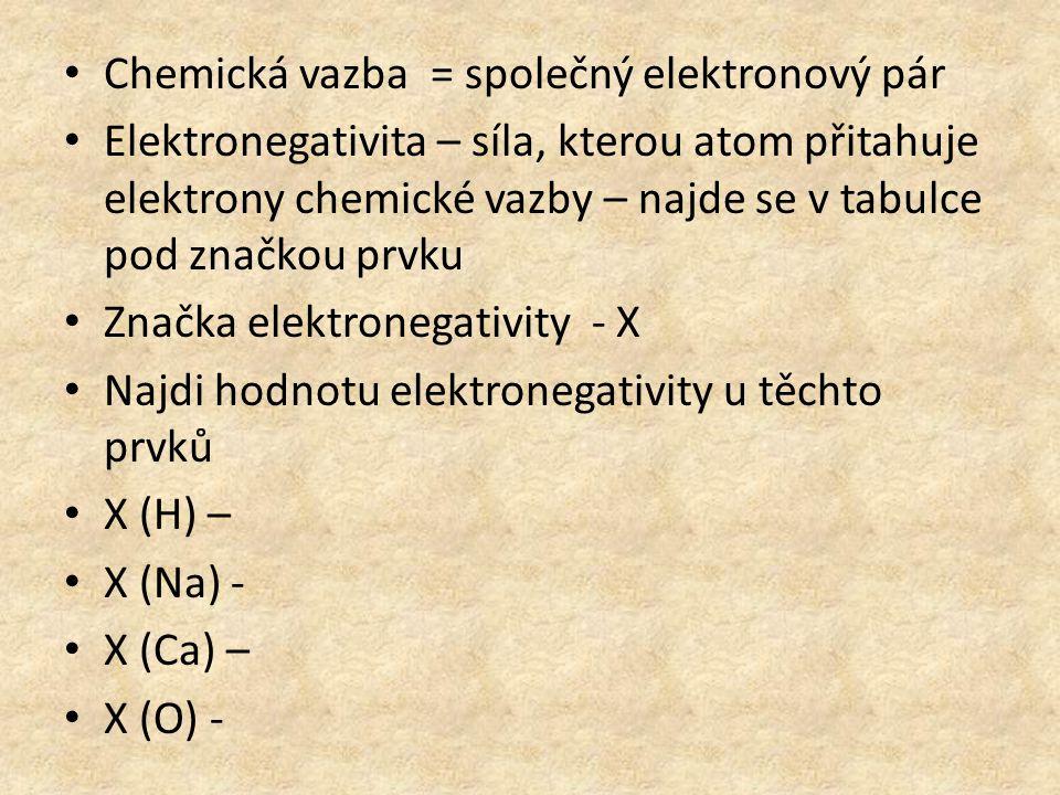 Chemická vazba = společný elektronový pár Elektronegativita – síla, kterou atom přitahuje elektrony chemické vazby – najde se v tabulce pod značkou prvku Značka elektronegativity - Χ Najdi hodnotu elektronegativity u těchto prvků X (H) – X (Na) - X (Ca) – X (O) -