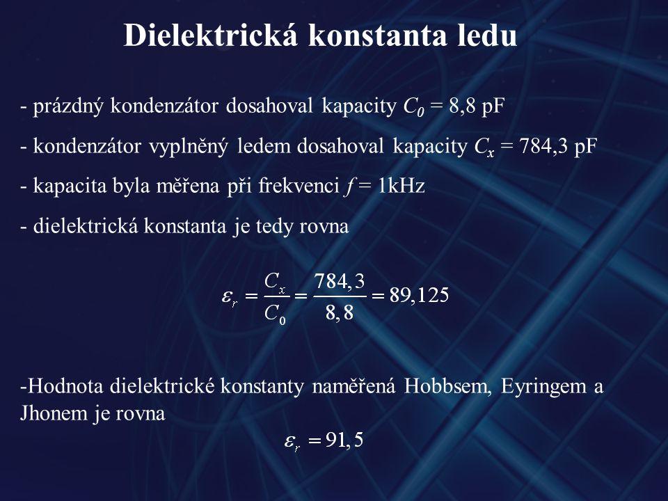 Dielektrická konstanta ledu - prázdný kondenzátor dosahoval kapacity C 0 = 8,8 pF - kondenzátor vyplněný ledem dosahoval kapacity C x = 784,3 pF - kap