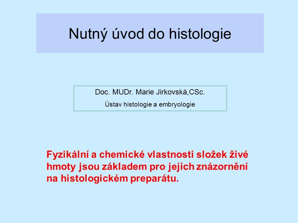 Nutný úvod do histologie Fyzikální a chemické vlastnosti složek živé hmoty jsou základem pro jejich znázornění na histologickém preparátu. Doc. MUDr.