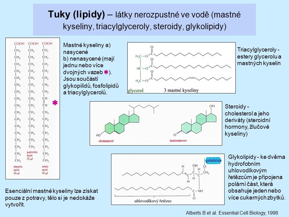 Tuky (lipidy) – látky nerozpustné ve vodě (mastné kyseliny, triacylglyceroly, steroidy, glykolipidy) Mastné kyseliny a) nasycené b) nenasycené (mají j