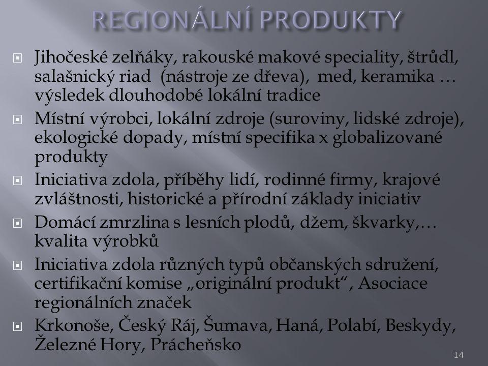  Jihočeské zelňáky, rakouské makové speciality, štrůdl, salašnický riad (nástroje ze dřeva), med, keramika … výsledek dlouhodobé lokální tradice  Mí