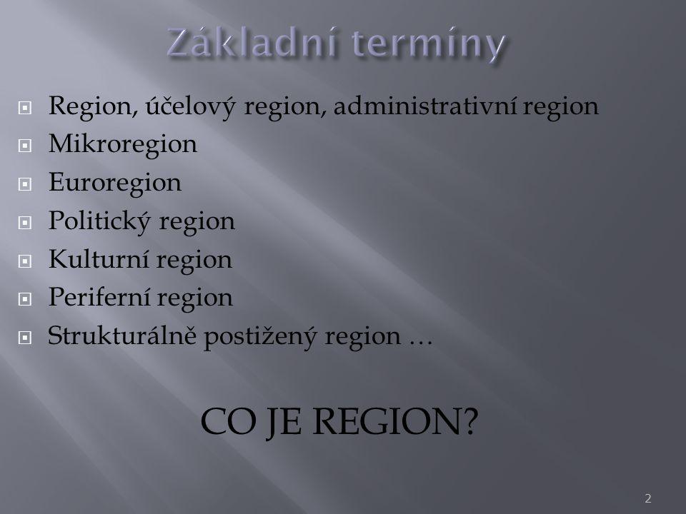  Region, účelový region, administrativní region  Mikroregion  Euroregion  Politický region  Kulturní region  Periferní region  Strukturálně pos