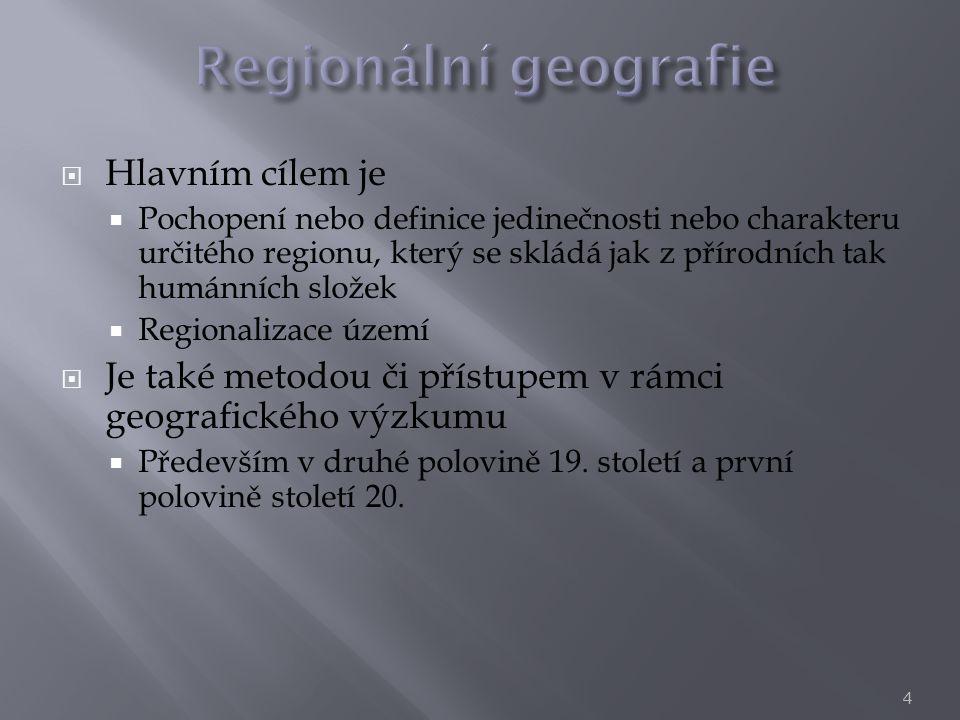  Hlavním cílem je  Pochopení nebo definice jedinečnosti nebo charakteru určitého regionu, který se skládá jak z přírodních tak humánních složek  Re