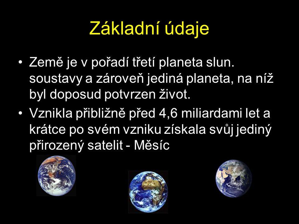 Základní údaje Země je v pořadí třetí planeta slun.