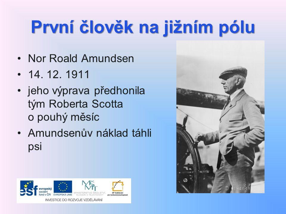 První člověk na jižním pólu Nor Roald Amundsen 14. 12. 1911 jeho výprava předhonila tým Roberta Scotta o pouhý měsíc Amundsenův náklad táhli psi