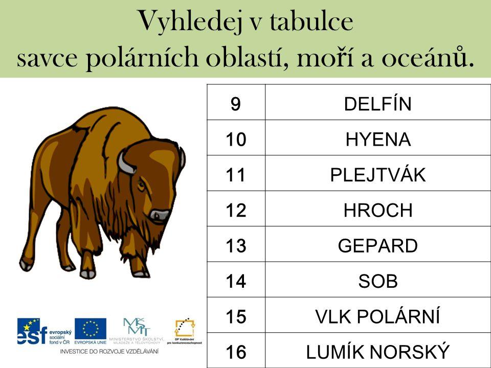 Vyhledej v tabulce savce polárních oblastí, mo ř í a oceán ů. 9DELFÍN 10HYENA 11PLEJTVÁK 12HROCH 13GEPARD 14SOB 15VLK POLÁRNÍ 16LUMÍK NORSKÝ