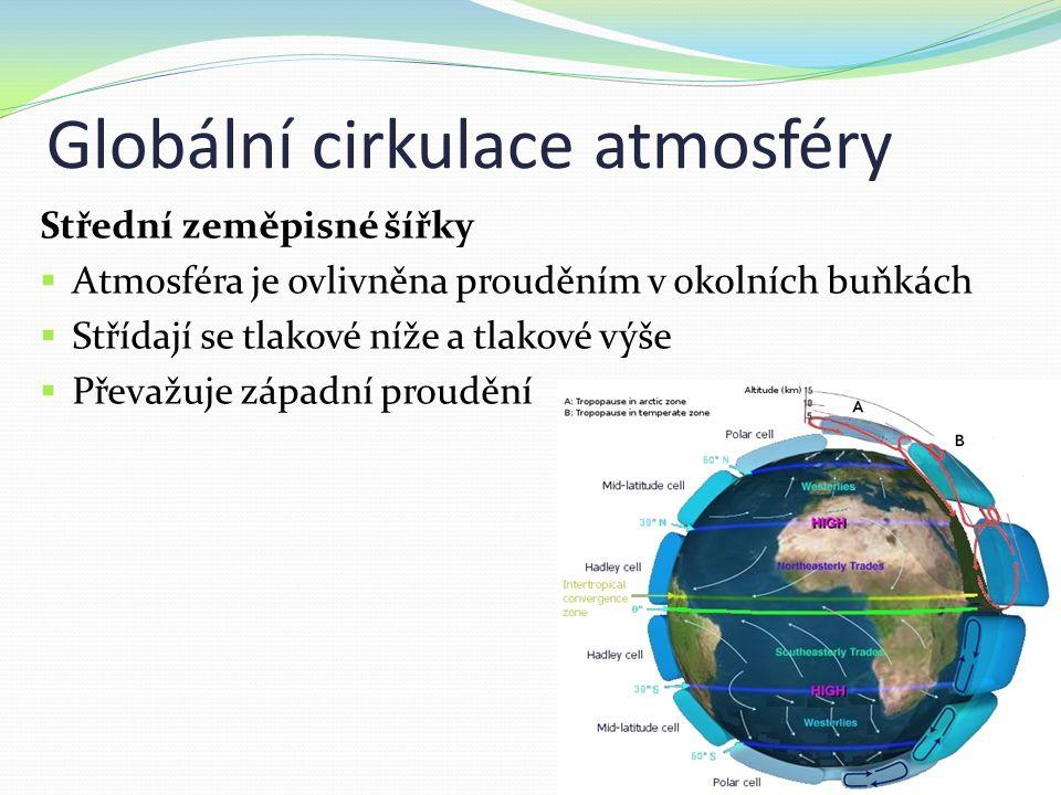 Globální cirkulace atmosféry Střední zeměpisné šířky  Atmosféra je ovlivněna prouděním v okolních buňkách  Střídají se tlakové níže a tlakové výše  Převažuje západní proudění