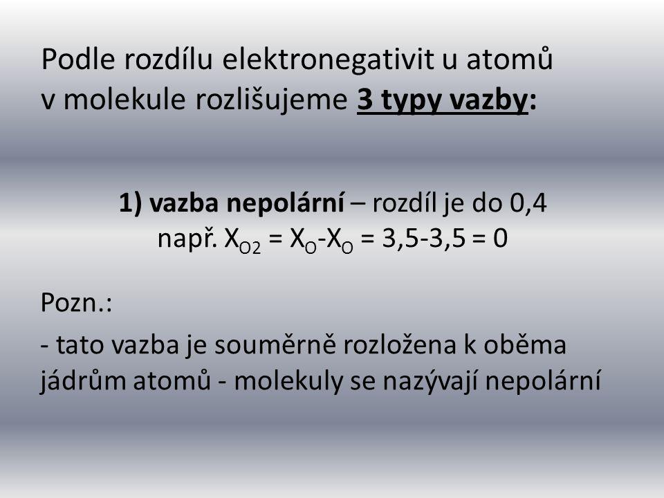 1) vazba nepolární – rozdíl je do 0,4 např.
