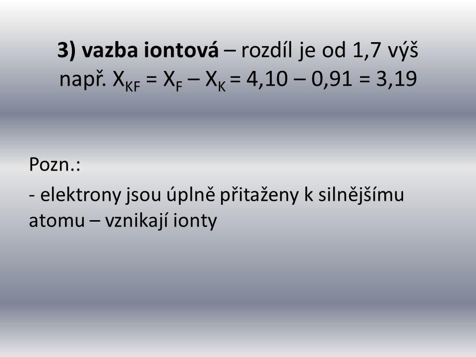 Zjisti výpočtem a pomocí tabulek, o jaký typ vazby se jedná u sloučenin KCl, N 2, CuO Řešení: X(KCl) = 2,83 – 0,91 = 1,92 … iontová X(N 2 ) = 3,07 – 3,07 = 0 … nepolární X(CuO) = 3,50 – 1,75 = 1,75 … iontová X(AgS) = 2,44 – 1,42 = 1,02 … polární