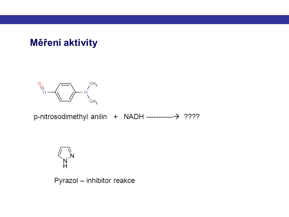 Měření aktivity p-nitrosodimethyl anilin + NADH -----------  ???? Pyrazol – inhibitor reakce