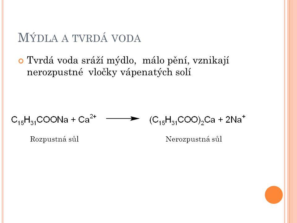 M ÝDLA A TVRDÁ VODA Tvrdá voda sráží mýdlo, málo pění, vznikají nerozpustné vločky vápenatých solí Rozpustná sůlNerozpustná sůl