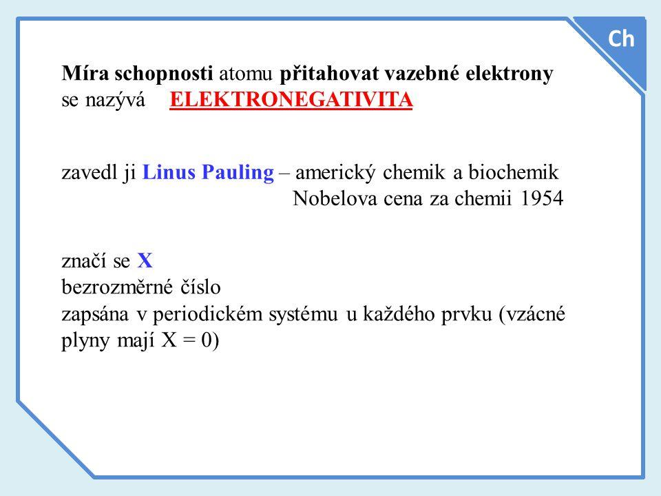 Míra schopnosti atomu přitahovat vazebné elektrony se nazývá ELEKTRONEGATIVITA Ch zavedl ji Linus Pauling – americký chemik a biochemik Nobelova cena za chemii 1954 značí se X bezrozměrné číslo zapsána v periodickém systému u každého prvku (vzácné plyny mají X = 0)