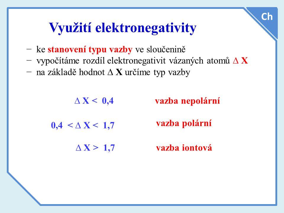 Využití elektronegativity Ch ∆ X < 0,4 − ke stanovení typu vazby ve sloučenině − vypočítáme rozdíl elektronegativit vázaných atomů ∆ X − na základě hodnot ∆ X určíme typ vazby 0,4 < ∆ X < 1,7 ∆ X > 1,7 vazba nepolární vazba polární vazba iontová