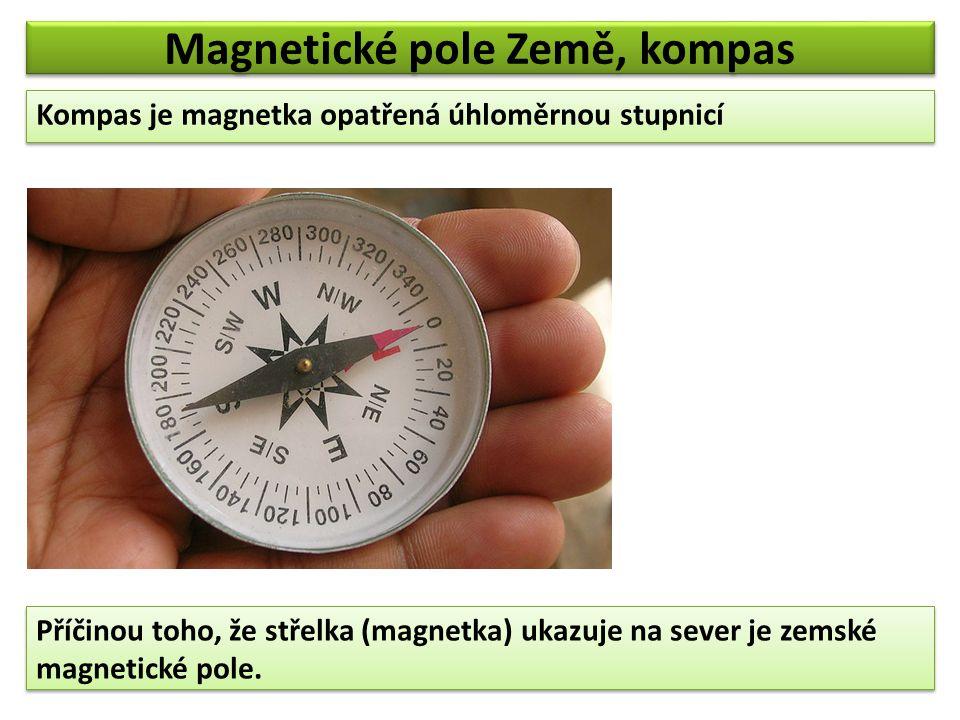 Magnetické pole Země, kompas Kompas je magnetka opatřená úhloměrnou stupnicí Příčinou toho, že střelka (magnetka) ukazuje na sever je zemské magnetick