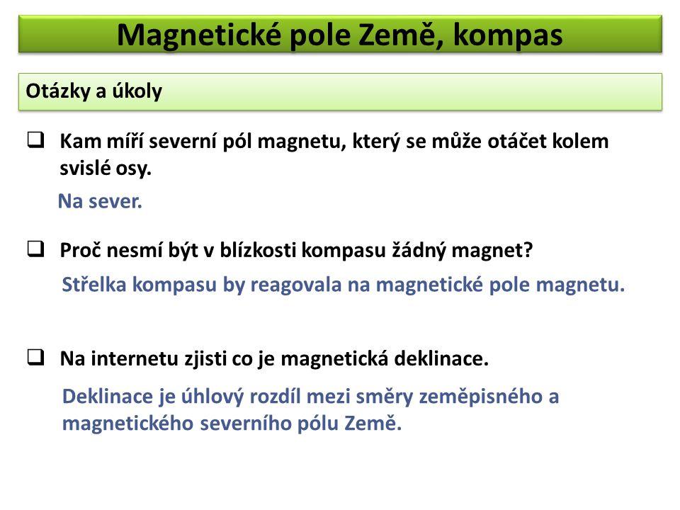Otázky a úkoly Magnetické pole Země, kompas  Kam míří severní pól magnetu, který se může otáčet kolem svislé osy.  Proč nesmí být v blízkosti kompas
