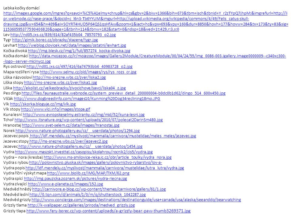 Lebka kočky domácí http://images.google.com/imgres?q=savci+%C5%A1elmy+chrup&hl=cs&gbv=2&biw=1366&bih=673&tbm=isch&tbnid=Y_r2zTYpQ7jhpM:&imgrefurl=http://li pr.webnode.cz/nase-prace/&docid=c_l6n3-Tb6YYUM&imgurl=http://upload.wikimedia.org/wikipedia/commons/4/49/Felis_catus-skull- drawing.jpg&w=654&h=409&ei=SOYRT4HUD5P64QS1qsHfAw&zoom=1&iact=hc&vpx=693&vpy=160&dur=8850&hovh=177&hovw=284&tx=173&ty=83&sig= 115360595377590406820&page=1&tbnh=114&tbnw=182&start=0&ndsp=18&ved=1t:429,r:3,s:0 http://images.google.com/imgres?q=savci+%C5%A1elmy+chrup&hl=cs&gbv=2&biw=1366&bih=673&tbm=isch&tbnid=Y_r2zTYpQ7jhpM:&imgrefurl=http://li pr.webnode.cz/nase-prace/&docid=c_l6n3-Tb6YYUM&imgurl=http://upload.wikimedia.org/wikipedia/commons/4/49/Felis_catus-skull- drawing.jpg&w=654&h=409&ei=SOYRT4HUD5P64QS1qsHfAw&zoom=1&iact=hc&vpx=693&vpy=160&dur=8850&hovh=177&hovw=284&tx=173&ty=83&sig= 115360595377590406820&page=1&tbnh=114&tbnw=182&start=0&ndsp=18&ved=1t:429,r:3,s:0 Lev http://nd05.jxs.cz/839/614/82af435b04_78570793_o2.jpghttp://nd05.jxs.cz/839/614/82af435b04_78570793_o2.jpg Tygr http://gimik.borec.cz/obrazky/stazene/tygr.jpghttp://gimik.borec.cz/obrazky/stazene/tygr.jpg Levhart http://weblog.clovicek.net/data/images/ostatni/levhart.jpghttp://weblog.clovicek.net/data/images/ostatni/levhart.jpg Kočka divoká http://img.blesk.cz/img/1/full/857274_kocka-divoka.jpghttp://img.blesk.cz/img/1/full/857274_kocka-divoka.jpg Kočka domácí http://data.mojezoo.cz/ir/mojezoo/images/Gallery2Module/CreatureModule/00/04/24/55/img_0086-003.igallery.image0000009--c340xc300- -logo--server-micinycz.jpghttp://data.mojezoo.cz/ir/mojezoo/images/Gallery2Module/CreatureModule/00/04/24/55/img_0086-003.igallery.image0000009--c340xc300- -logo--server-micinycz.jpg Rys ostrovid http://nd01.jxs.cz/497/416/6a74793bb6_40983728_o2.jpghttp://nd01.jxs.cz/497/416/6a74793bb6_40983728_o2.jpg Mapa rozšíření rysa http://www.selmy.cz/old/images/rys/rys_rozs_cr.jpghttp://www.selmy.cz/old/images/rys/rys_rozs_cr.jpg Liška názvosloví htt