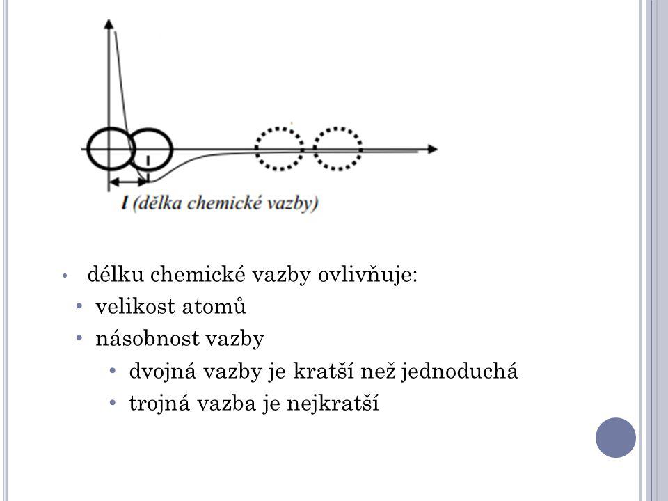 délku chemické vazby ovlivňuje: velikost atomů násobnost vazby dvojná vazby je kratší než jednoduchá trojná vazba je nejkratší