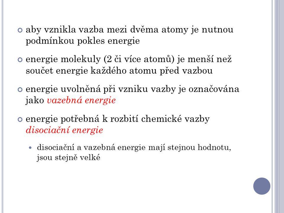 aby vznikla vazba mezi dvěma atomy je nutnou podmínkou pokles energie energie molekuly (2 či více atomů) je menší než součet energie každého atomu před vazbou energie uvolněná při vzniku vazby je označována jako vazebná energie energie potřebná k rozbití chemické vazby disociační energie disociační a vazebná energie mají stejnou hodnotu, jsou stejně velké