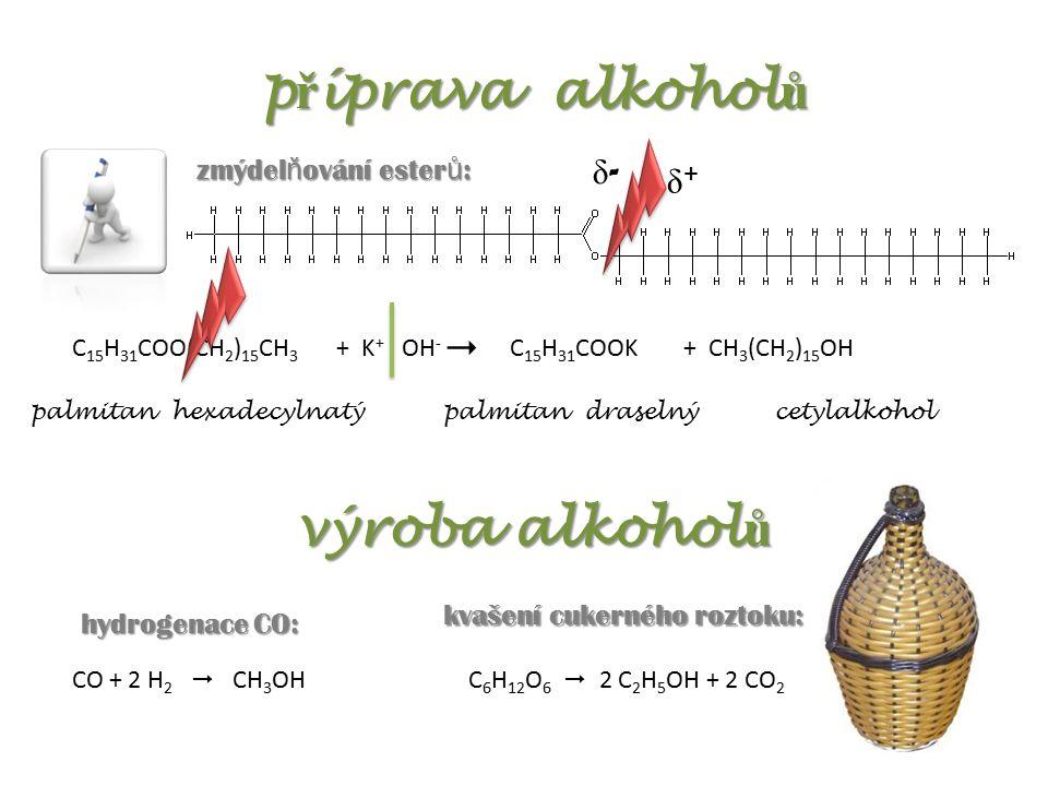 p ř íprava alkohol ů zmýdel ň ování ester ů : C 15 H 31 COO(CH 2 ) 15 CH 3 + K + OH -  δ-δ- δ+δ+ C 15 H 31 COOK+ CH 3 (CH 2 ) 15 OH palmitan hexadecylnatýpalmitan draselnýcetylalkohol výroba alkohol ů CO + 2 H 2  CH 3 OHC 6 H 12 O 6  2 C 2 H 5 OH + 2 CO 2 hydrogenace CO: kvašení cukerného roztoku: