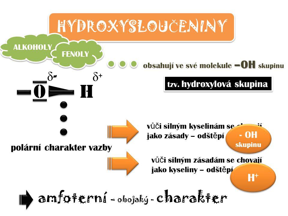 HYDROXYSLOU Č ENINY ALKOHOLY FENOLY –OH obsahují ve své molekule –OH skupinu tzv. hydroxylová skupina O H polární charakter vazby δ-δ- δ+δ+ v ůč i sil