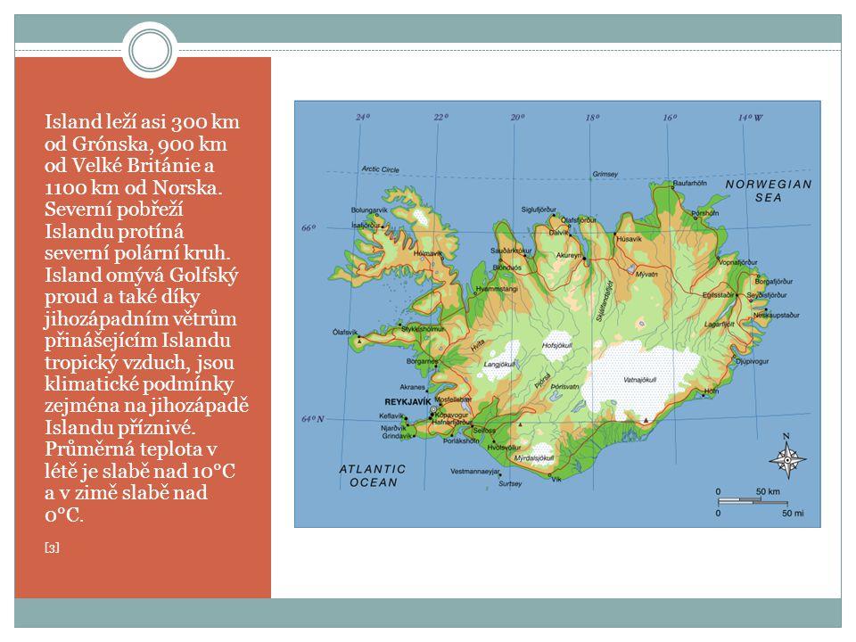 Island leží asi 300 km od Grónska, 900 km od Velké Británie a 1100 km od Norska. Severní pobřeží Islandu protíná severní polární kruh. Island omývá Go