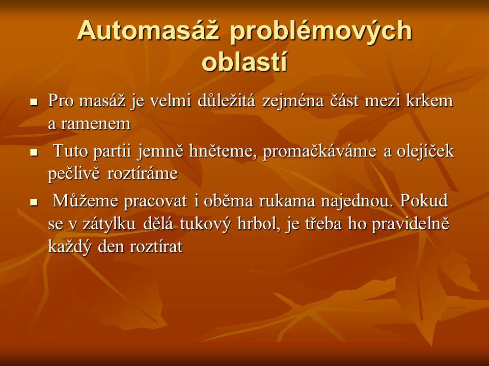 Automasáž problémových oblastí Pro masáž je velmi důležitá zejména část mezi krkem a ramenem Pro masáž je velmi důležitá zejména část mezi krkem a ram