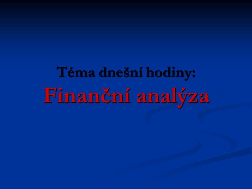 Téma dnešní hodiny: Finanční analýza