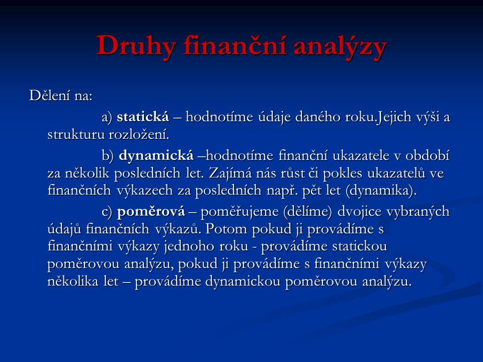 Druhy finanční analýzy Dělení na: a) statická – hodnotíme údaje daného roku.Jejich výši a strukturu rozložení.