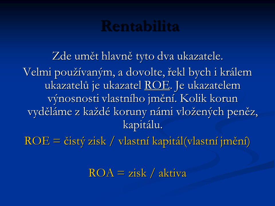 Rentabilita Rentabilita Zde umět hlavně tyto dva ukazatele.