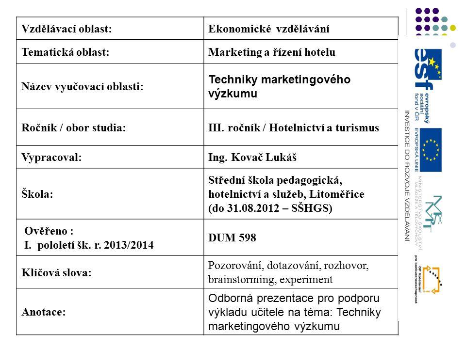 Vzdělávací oblast:Ekonomické vzdělávání Tematická oblast:Marketing a řízení hotelu Název vyučovací oblasti: Techniky marketingového výzkumu Ročník / obor studia:III.