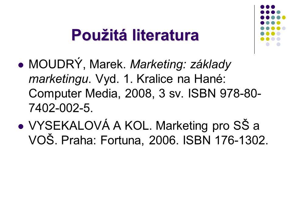 Použitá literatura MOUDRÝ, Marek. Marketing: základy marketingu. Vyd. 1. Kralice na Hané: Computer Media, 2008, 3 sv. ISBN 978-80- 7402-002-5. VYSEKAL