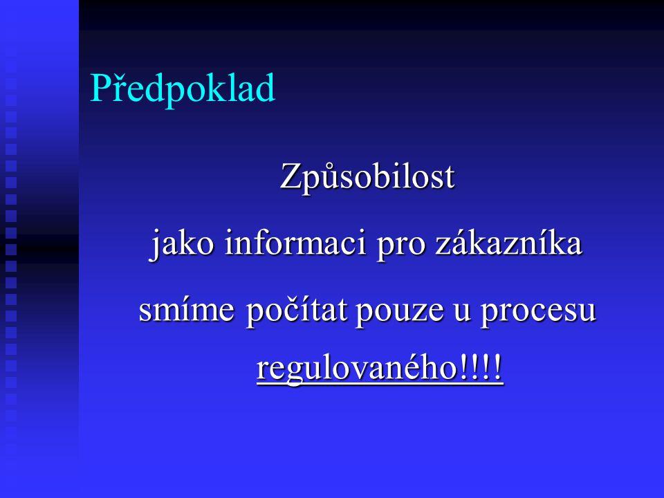 Předpoklad Způsobilost jako informaci pro zákazníka smíme počítat pouze u procesu regulovaného!!!!