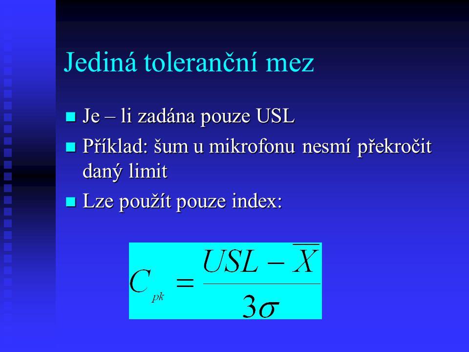 Jediná toleranční mez Je – li zadána pouze USL Je – li zadána pouze USL Příklad: šum u mikrofonu nesmí překročit daný limit Příklad: šum u mikrofonu nesmí překročit daný limit Lze použít pouze index: Lze použít pouze index: