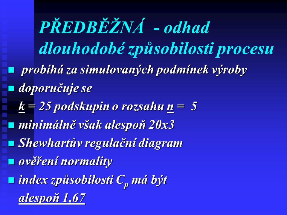 PŘEDBĚŽNÁ- odhad dlouhodobé způsobilosti procesu probíhá za simulovaných podmínek výroby probíhá za simulovaných podmínek výroby doporučuje se doporučuje se k = 25 podskupin o rozsahu n = 5 minimálně však alespoň 20x3 minimálně však alespoň 20x3 Shewhartův regulační diagram Shewhartův regulační diagram ověření normality ověření normality index způsobilosti C p má být index způsobilosti C p má být alespoň 1,67